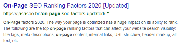 On-Page seo factor