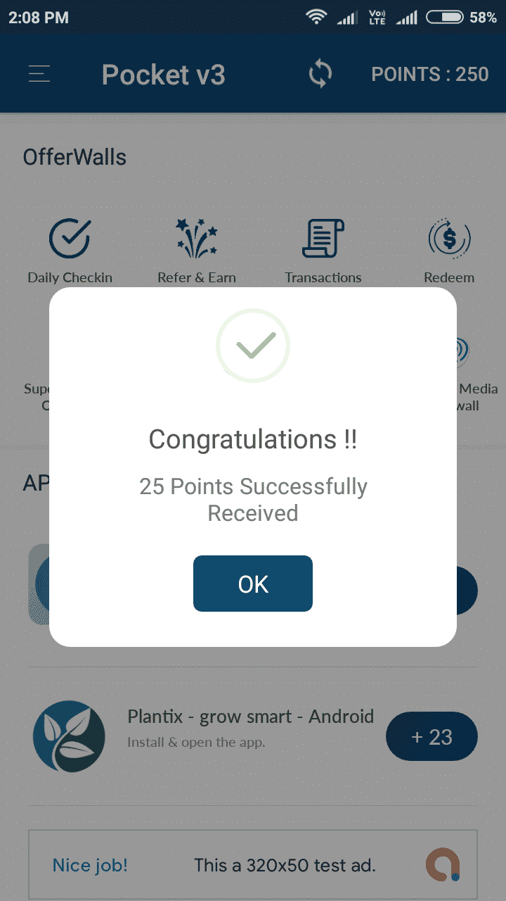 Pocket Android Rewards App + Admin Panel